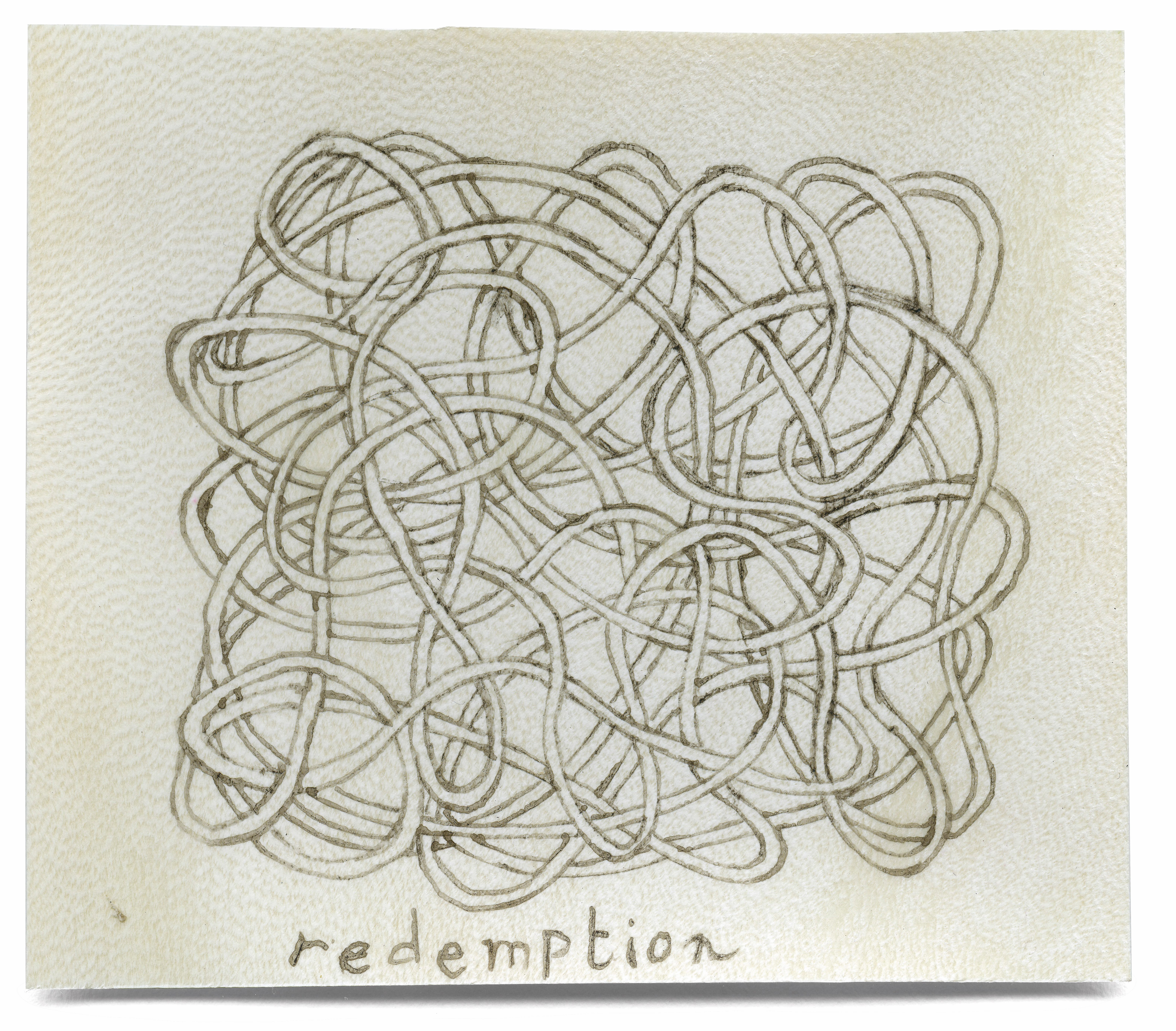 redemption, 10 x 20 cm, iron gall ink on sheep parchment